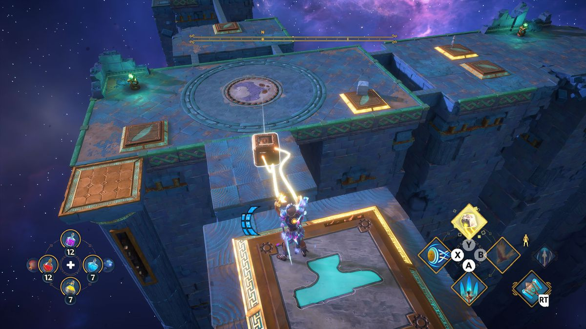 A puzzle solution for the Mastering Phosphor's Clone Vault of Tartaros in Immortals Fenyx Rising