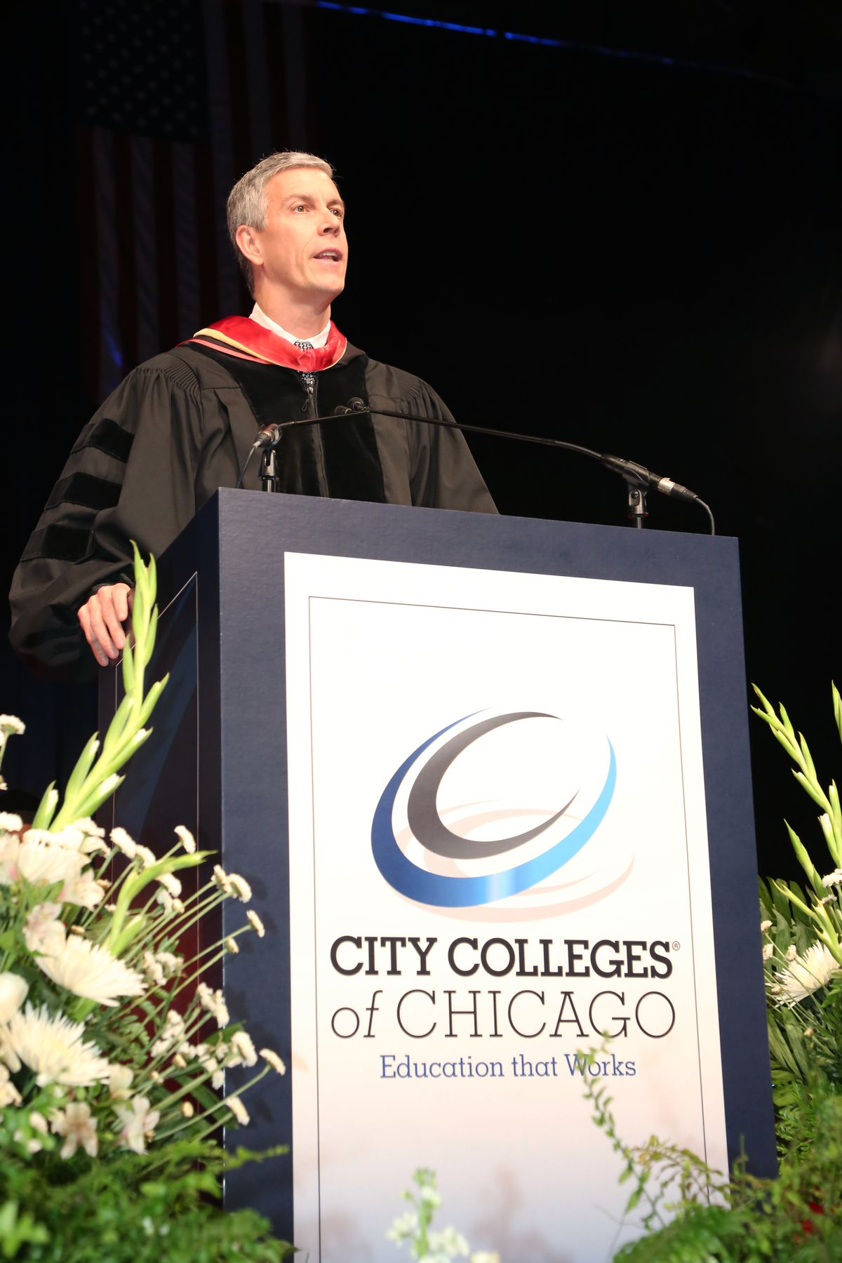 Former U.S. Education Secretary Arne Duncan gave the keynote speech at the City Colleges of Chicago commencement April 30 at the UIC Pavilion.   Provided photo