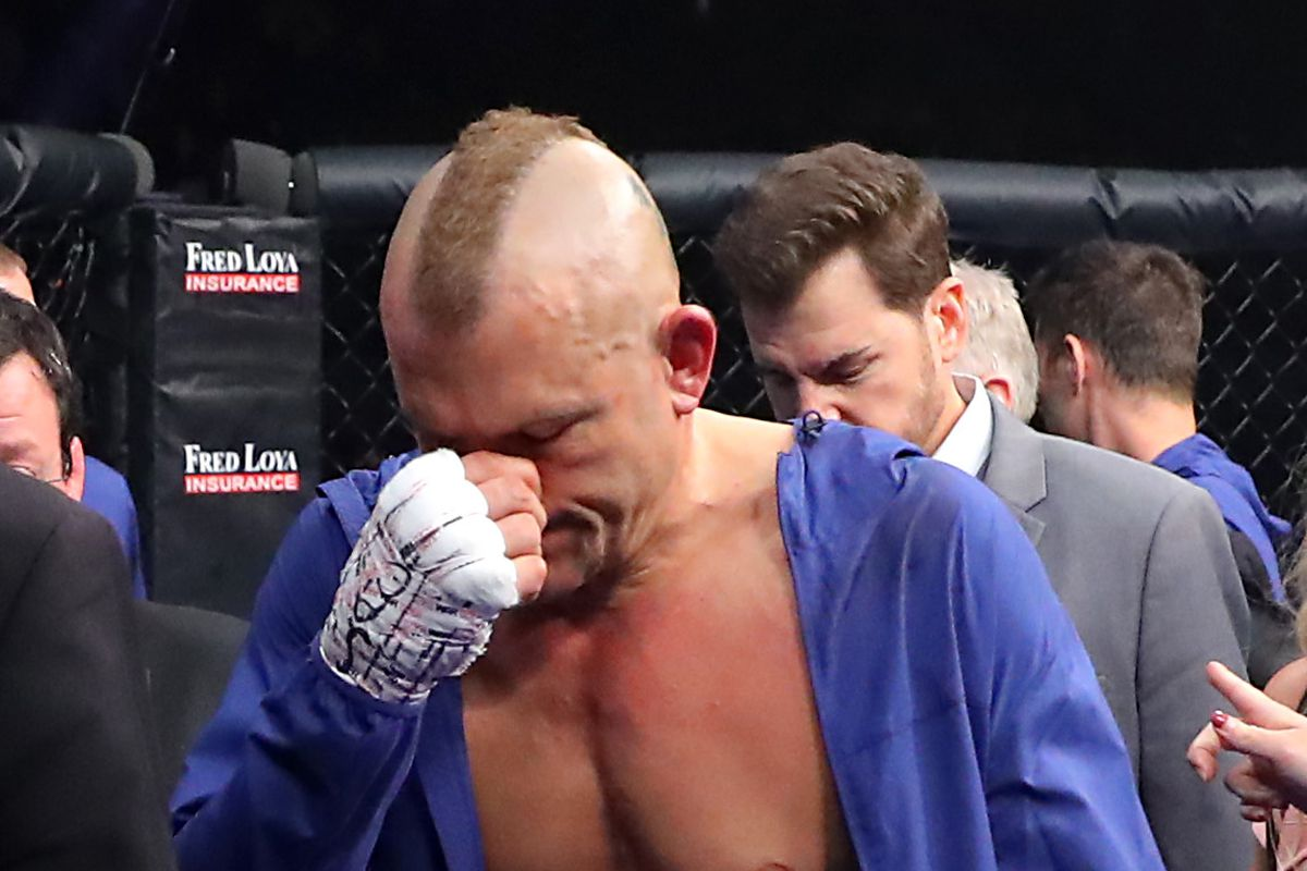 Chuck Liddell in the aftermath of his third fight with Tito Ortiz in 2018.