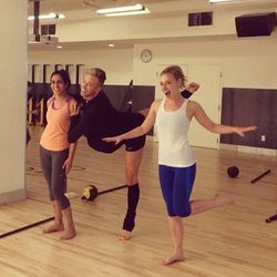 Jason showing off some ballet moves with Racked Fit Clubbers before class.