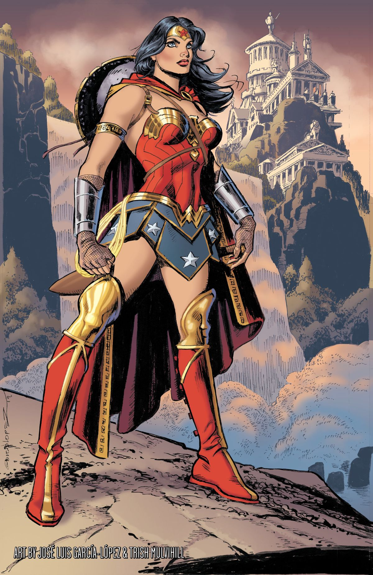 Wonder Woman stands on a mountain bluff on Themyscira, a waterfall and columned buildings behind her, in a pinup from Wonder Woman #750, DC Comics (2020).