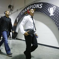 lvaro Saboro and Joao Plata arrive with their teammates as Real Salt Lake players arrive at Sporting Park Saturday, Dec. 7, 2013 as they prepare to play Sporting KC in MLS Cup action.