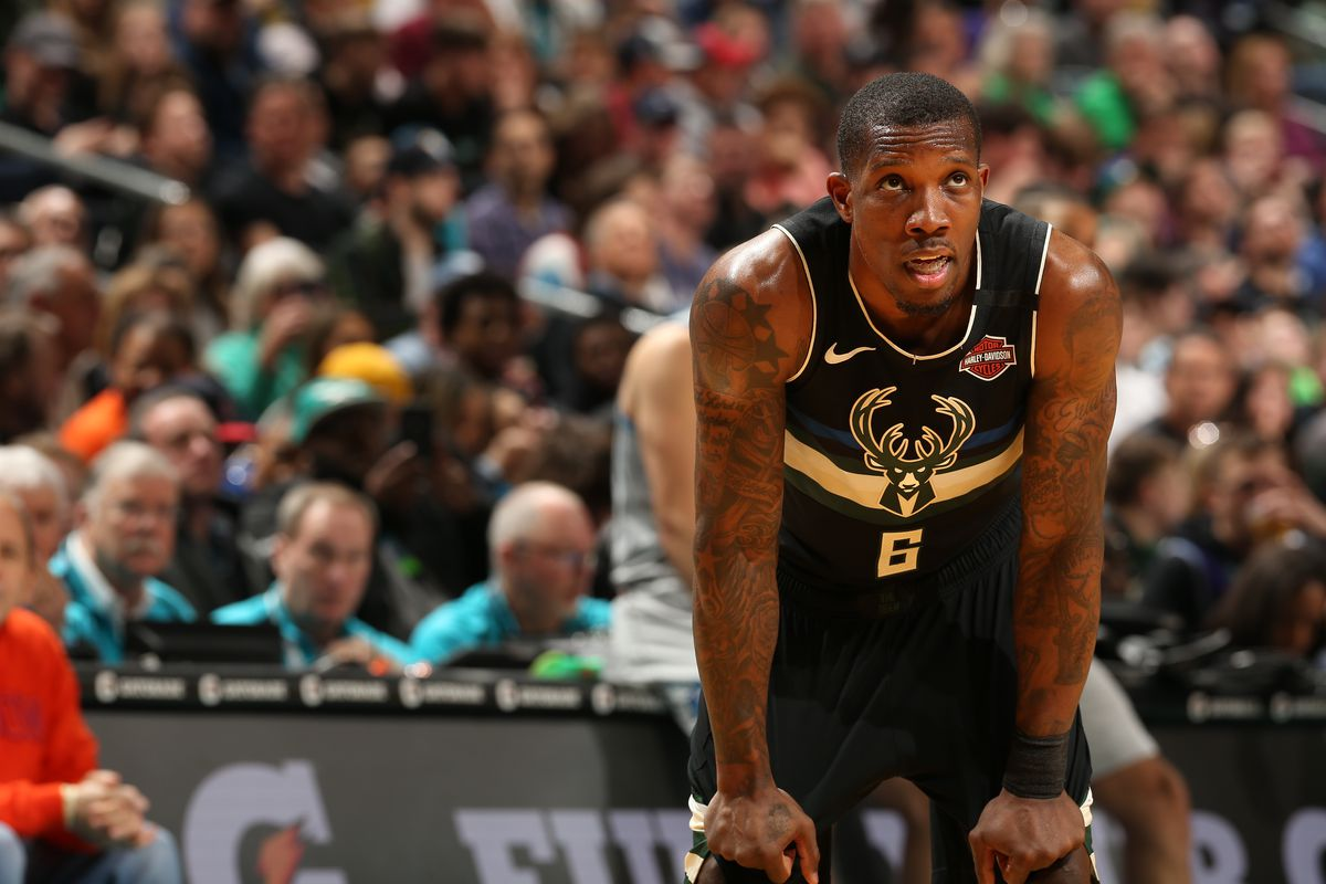 Eric Bledsoe of the Milwaukee Bucks looks on during the game against the Charlotte Hornets on March 1, 2020 at Spectrum Center in Charlotte, North Carolina.
