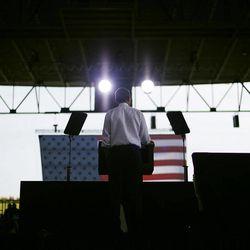 President Barack Obama speaks at a campaign event at Farm Bureau Live, Thursday, Sept. 27, 2012, in Virginia Beach, Va.