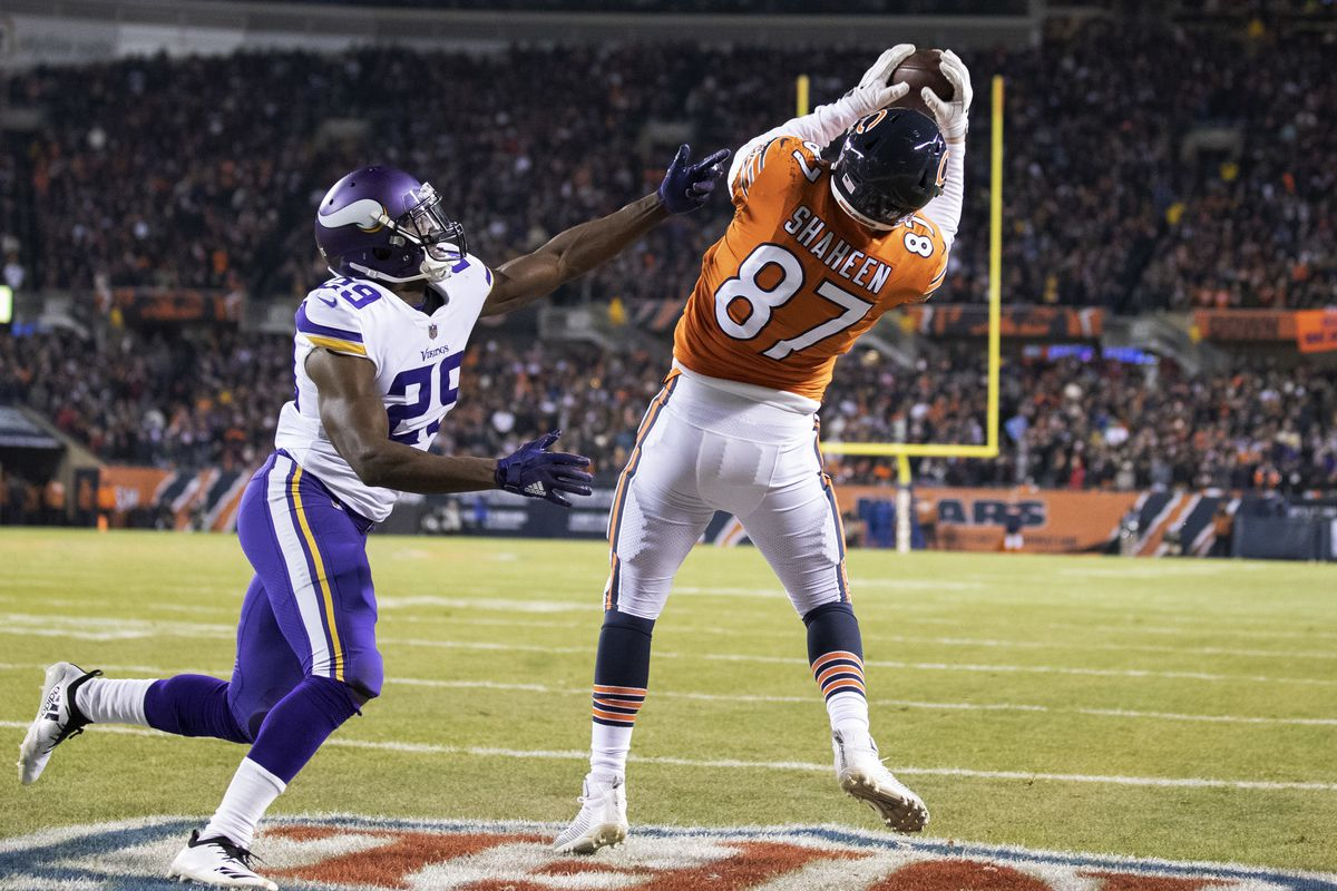 Chicago Bears tight end Adam Shaheen (87) caught a two point conversion in the forth quarter over Minnesota Vikings cornerback Xavier Rhodes (29) at Soldier Field Sunday November 18, 2018 in Chicago IL.] The Chicago Bears hosted the Minnesota Vikings at S