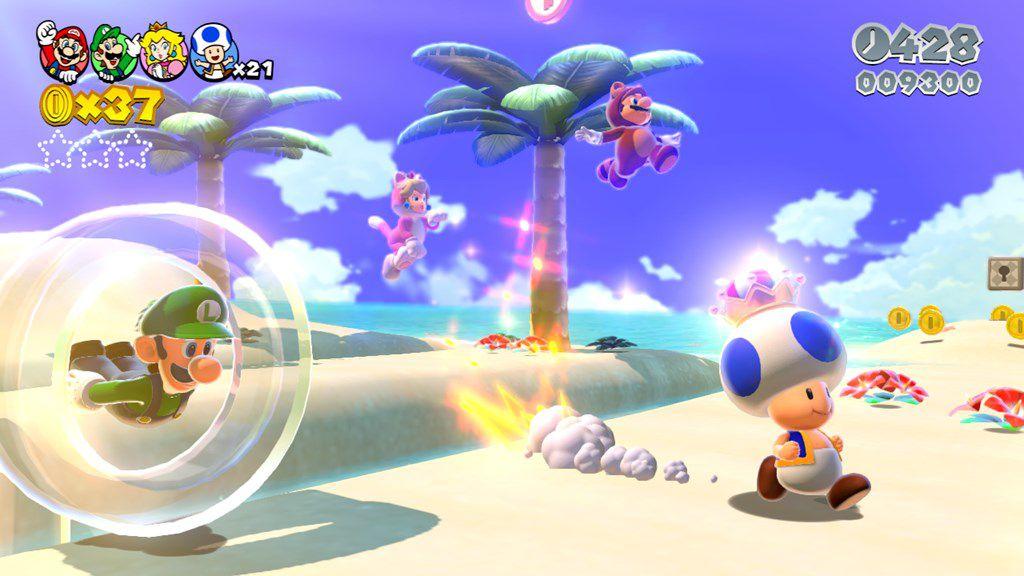 An intense race between friends in Super Mario 3D World