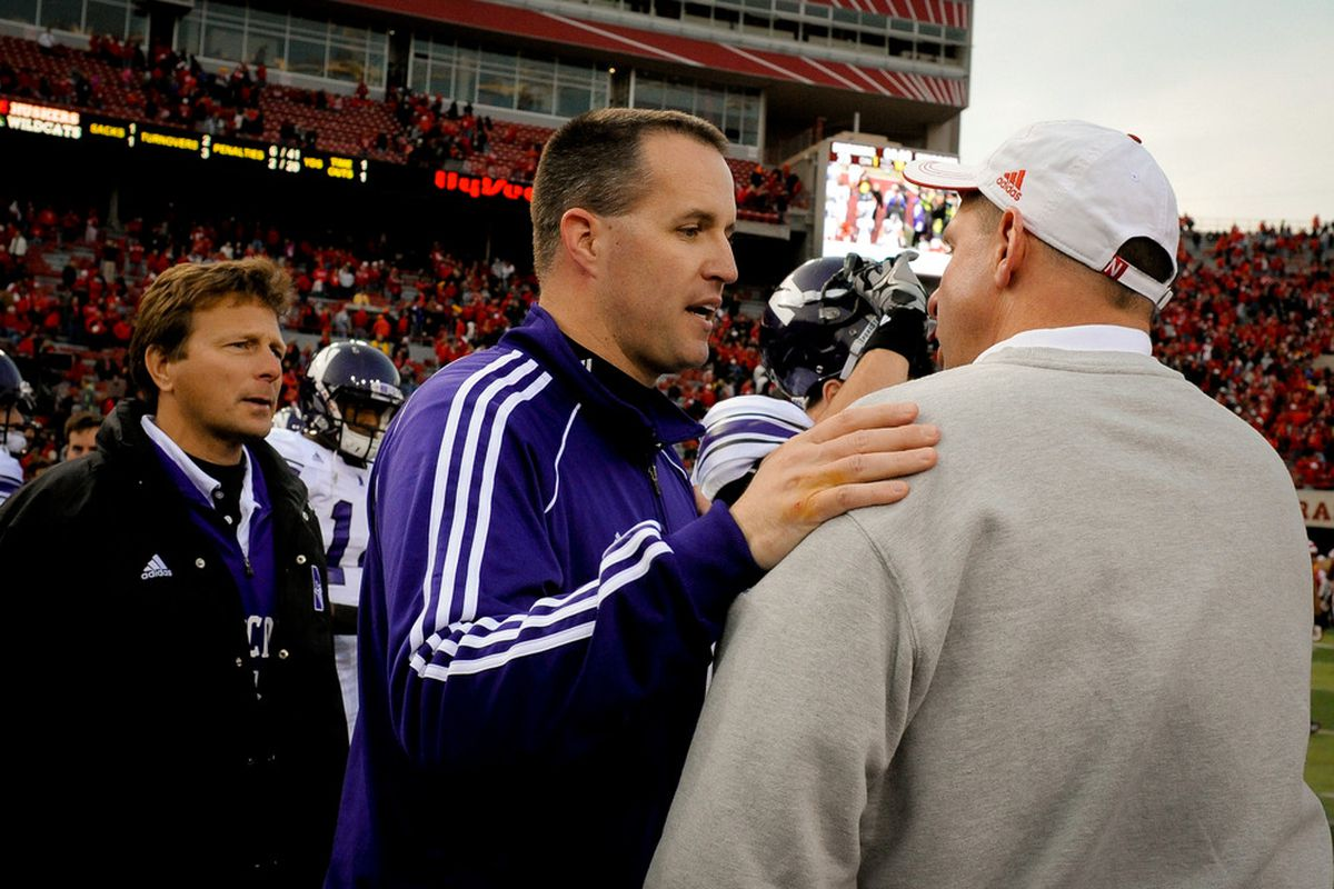 Fitz reassures Bo Pelini that Nebraska still ranks ahead of Northwestern in F+ and that stats are still for losers. (Photo by Eric Francis/Getty Images)