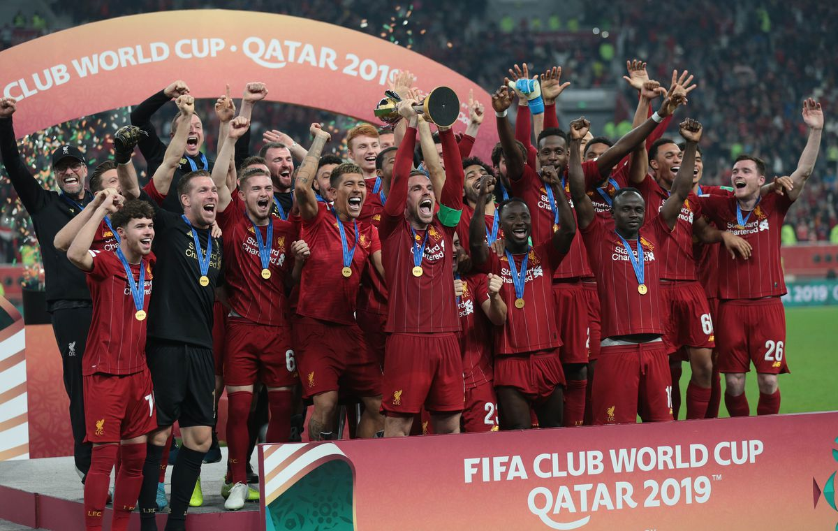 Liverpool lift the trophy during a ceremony at the end of the FIFA Club World Cup Qatar 2019 Final match between Liverpool FC and CR Flamengo at Khalifa International Stadium in Doha, Qatar on December 21, 2019