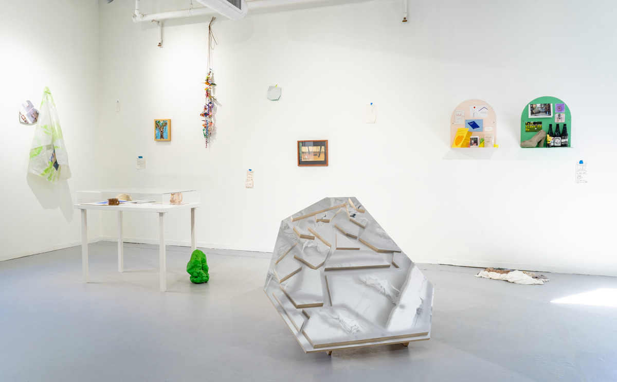 """The """"Artists Run Chicago 2.0"""" installation view of art work curated by LVL3 at the Hyde Park Art Center."""