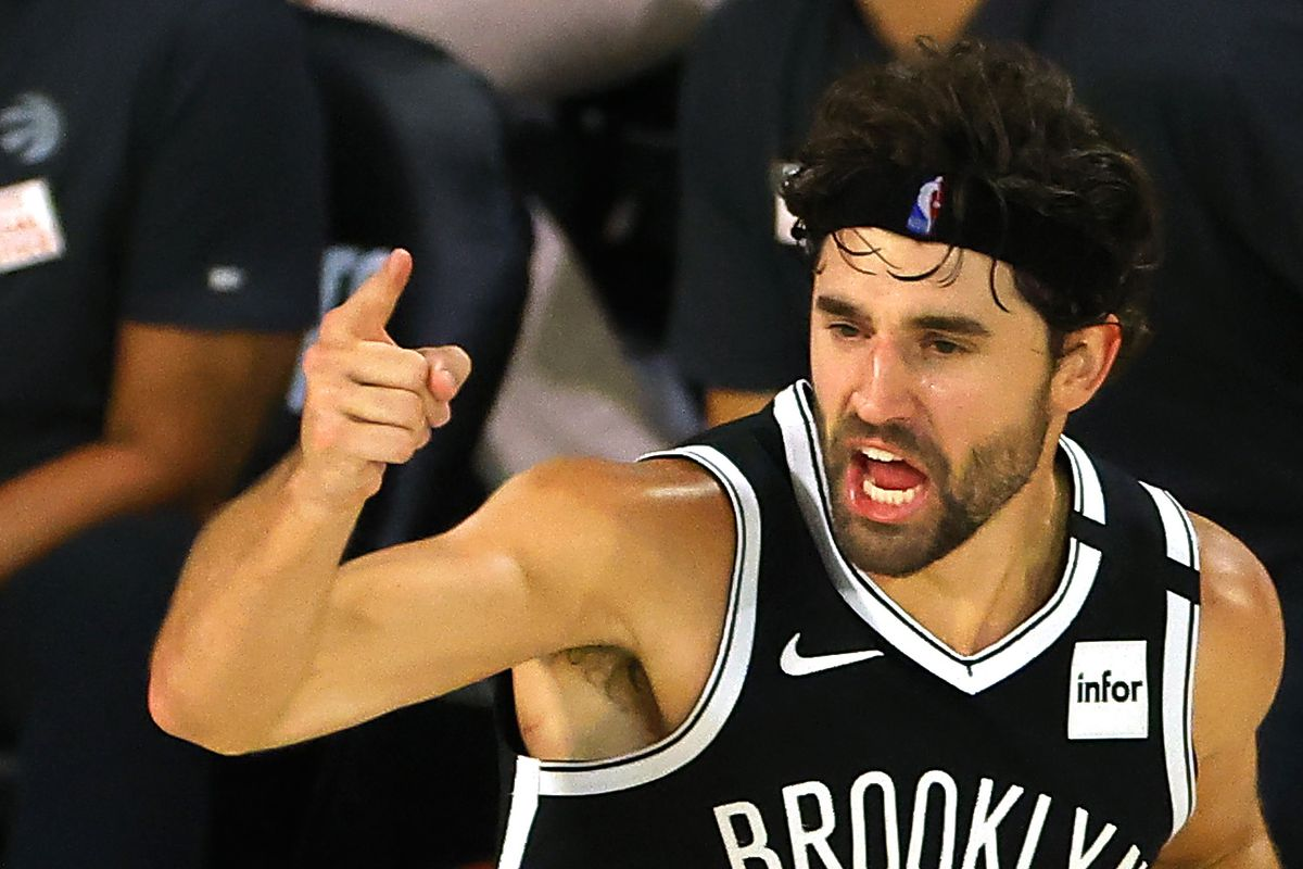 Joe Harris of the Brooklyn Nets reacts after hitting a three point basket against the Toronto Raptors during the fourth quarter in Game Two of the Eastern Conference First Round during the 2020 NBA Playoffs at The Field House at ESPN Wide World Of Sports Complex.