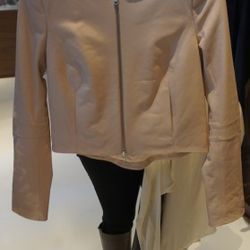 ADAM Crew Neck Leather Jacket in Blush<br />This amazing cropped leather jacket by Adam is so SPECIAL! The rare blush color complements any skin tone and the biker chic shape is cool but feminine<br />Originally $795, with 60% off $318