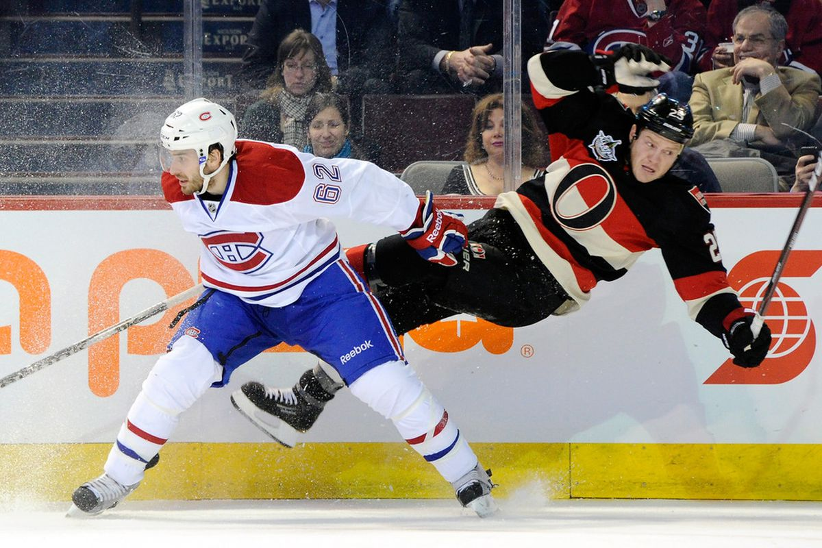 """Chris Neil with the latest professional sports craze, """"Desharnaising""""."""