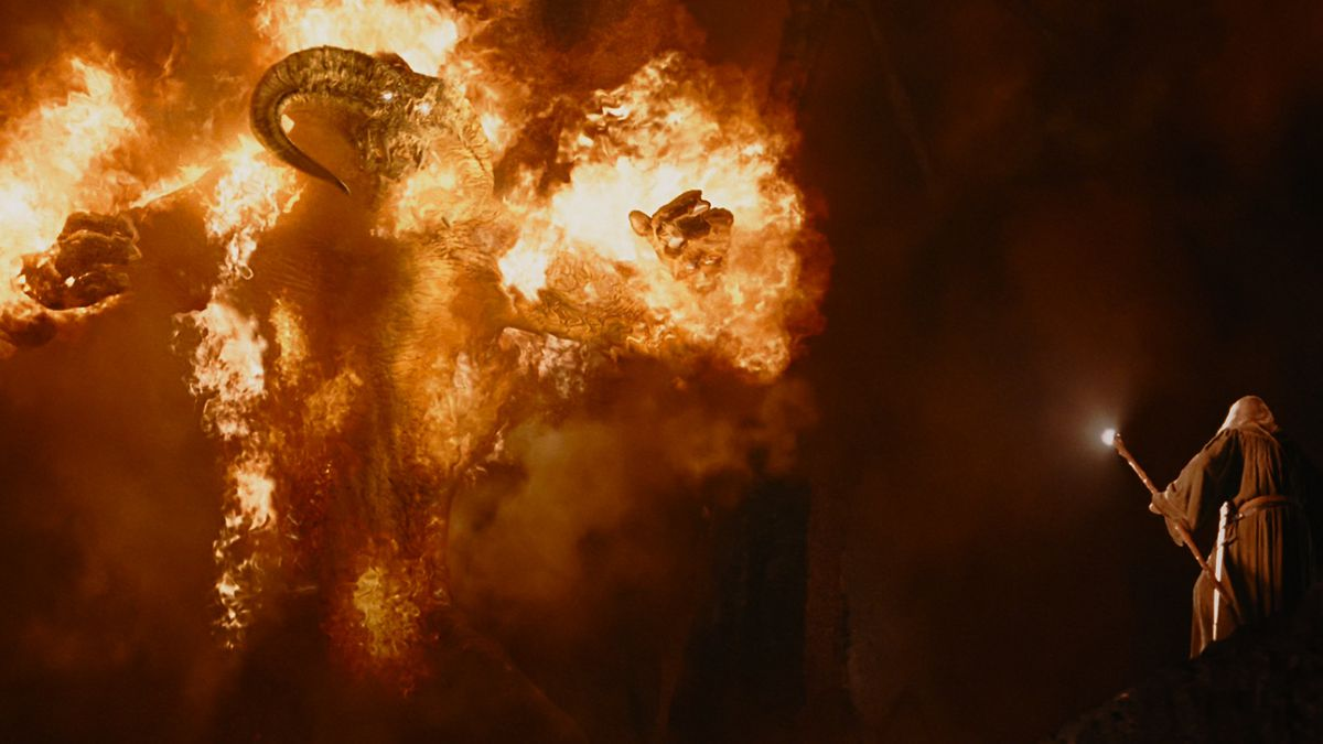Balrog attacks Gandalf in the mines of Moria in Lord of the Rings: The Fellowship of the Rings