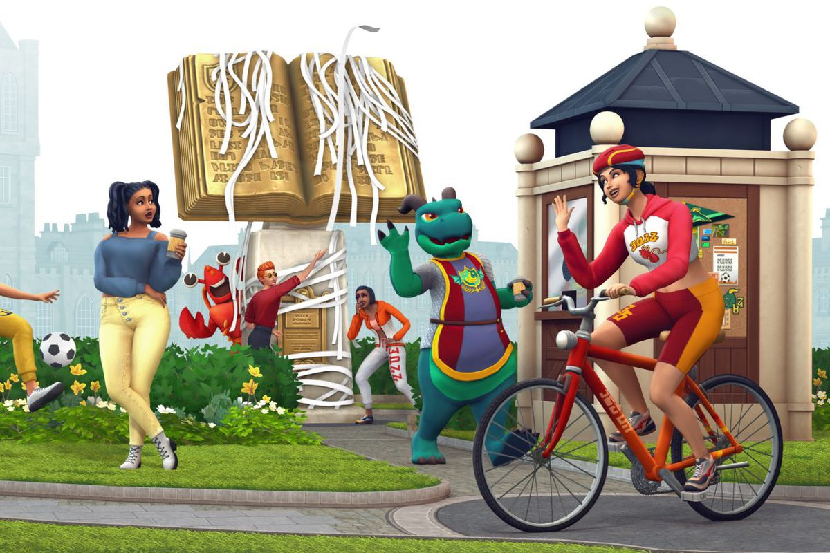 The Sims 4 Discover University - students toilet paper a university statue