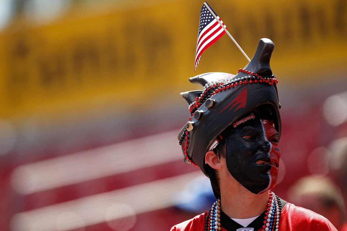 TAMPA, FL - SEPTEMBER 11:  A Tampa Bay Buccaneers fan looks on during a game against the Detroit Lions at Raymond James Stadium on September 11, 2011 in Tampa, Florida.  (Photo by Mike Ehrmann/Getty Images)