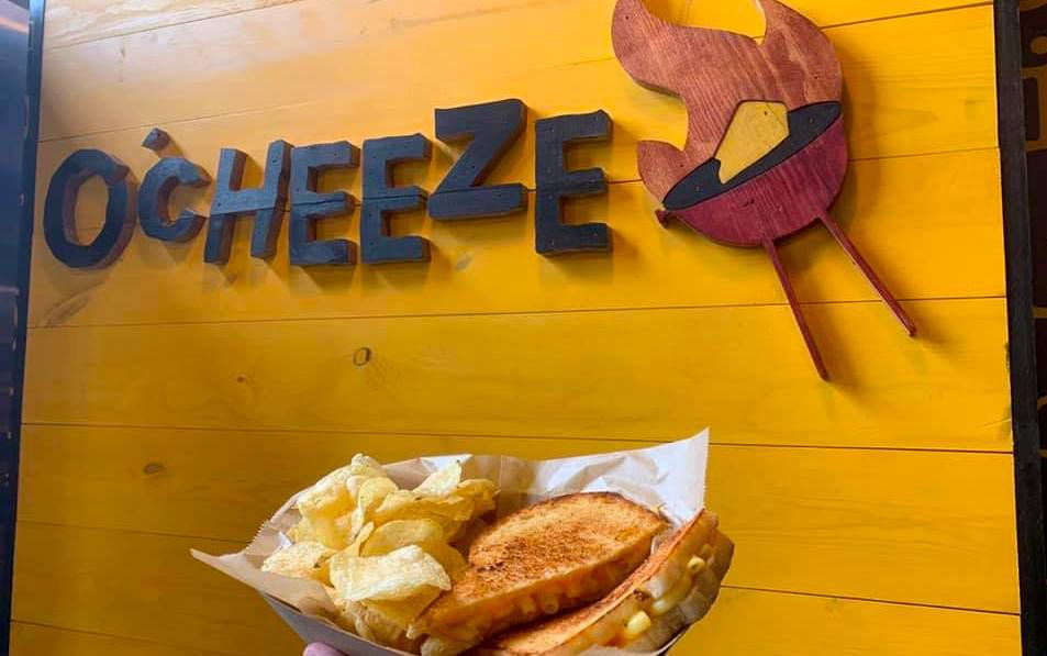 A grilled cheese stuffed with mac and cheese