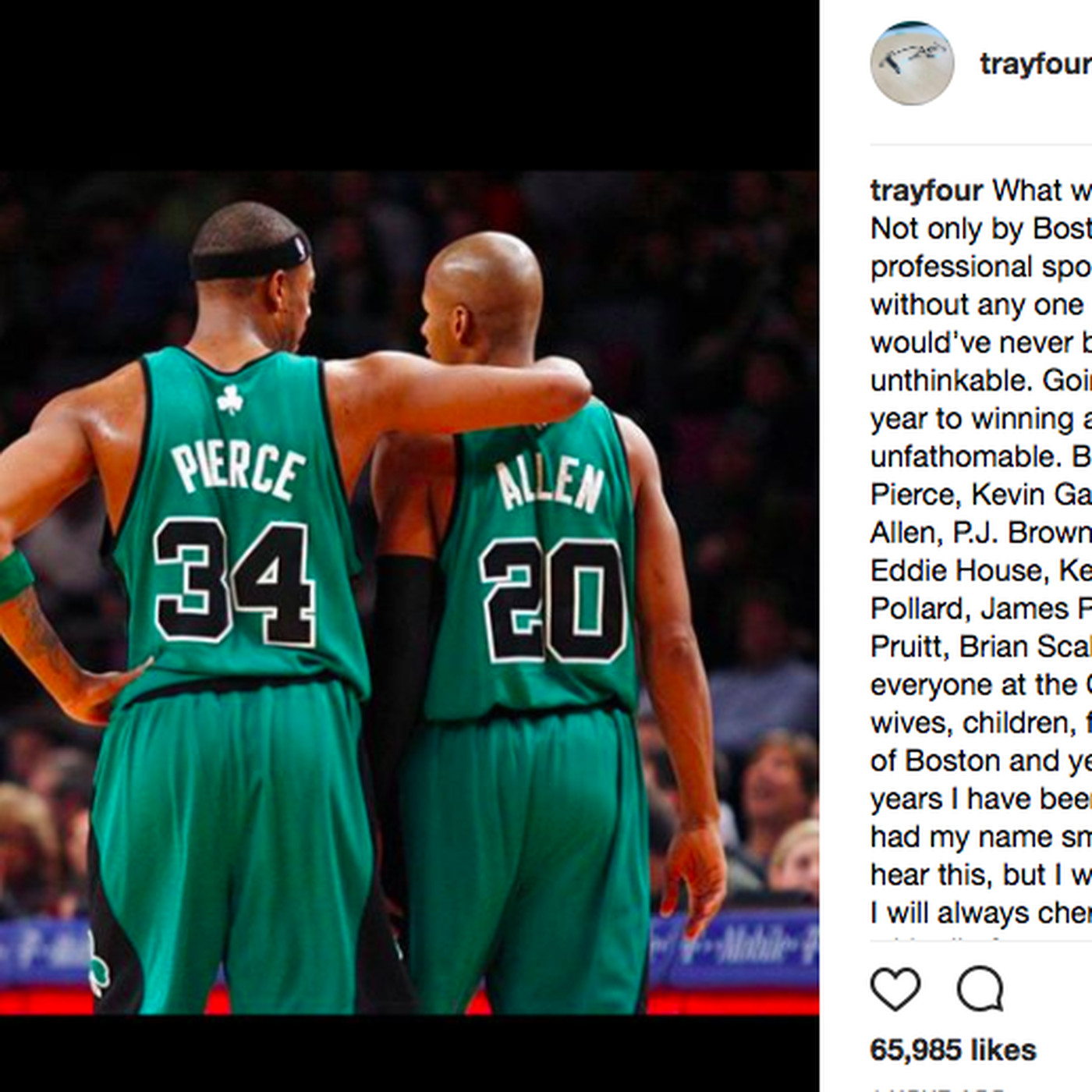 f198f139dfd Ray Allen dropped a tribute on Instagram to honor Paul Pierce - SBNation.com