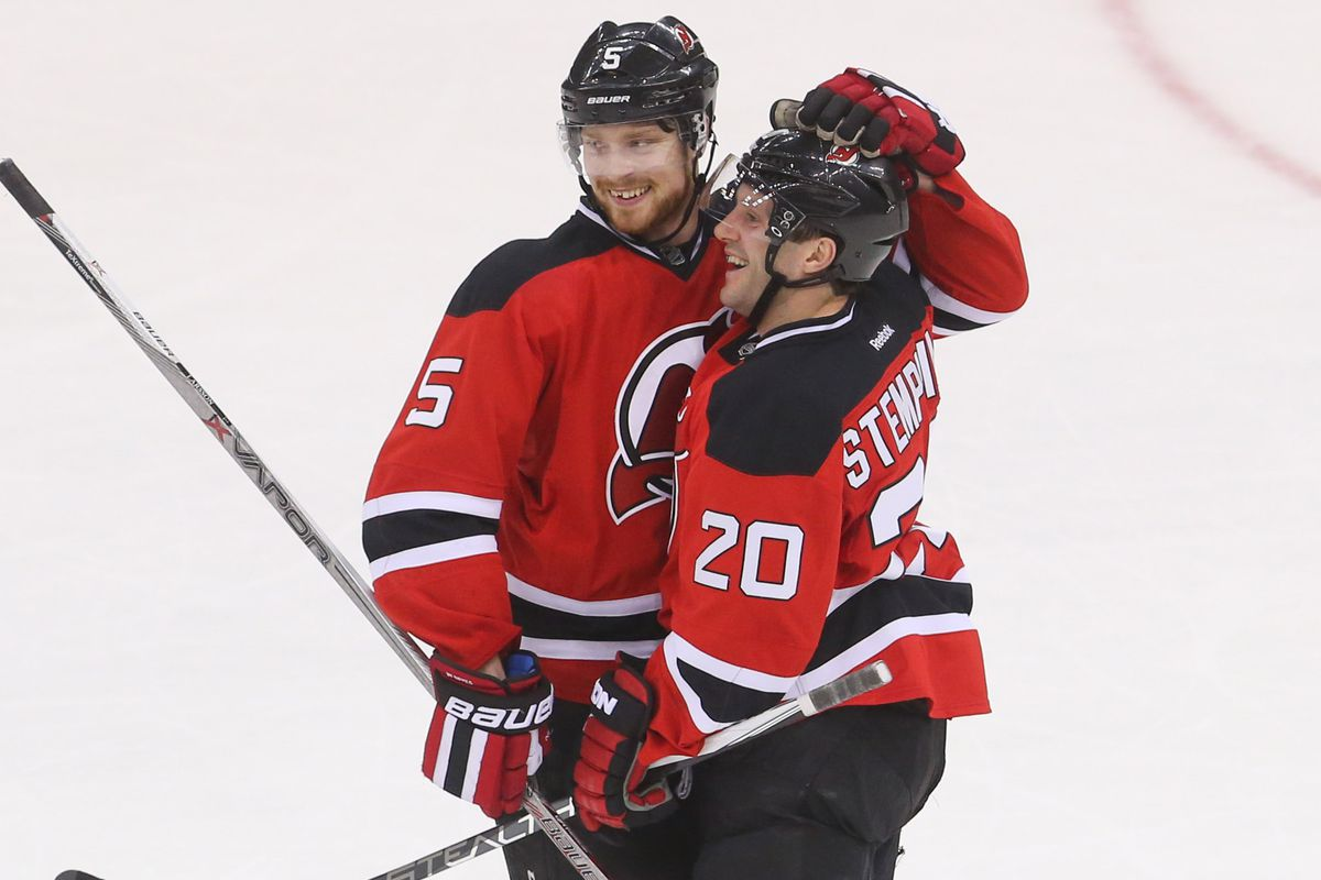 The last hug Lee Stempniak will give Adam Larsson (for at least this season).  Stempniak was sent to Boston today.