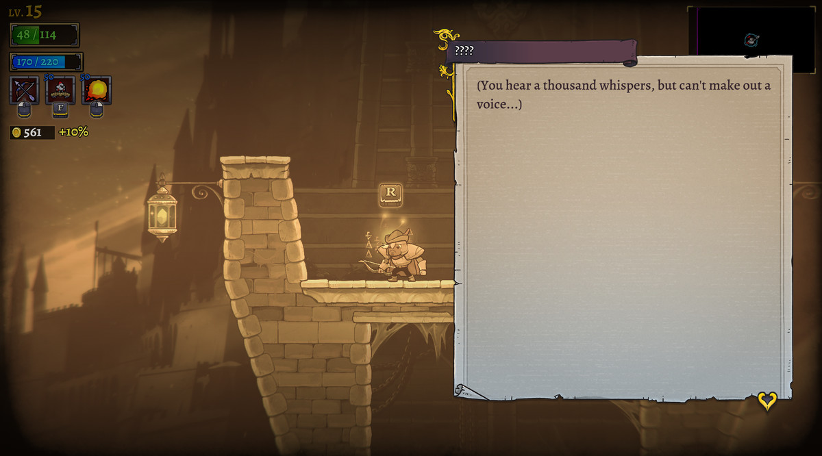 The whisper text in Rogue Legacy 2