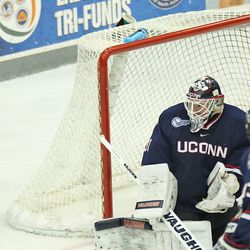 UConn's Rob Nichols (29) watches the puck.
