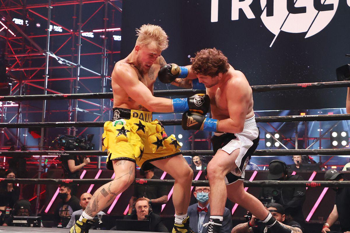 Jake Paul fights Ben Askren in their cruiserweight bout during Triller Fight Club at Mercedes-Benz Stadium on April 17, 2021 in Atlanta, Georgia.