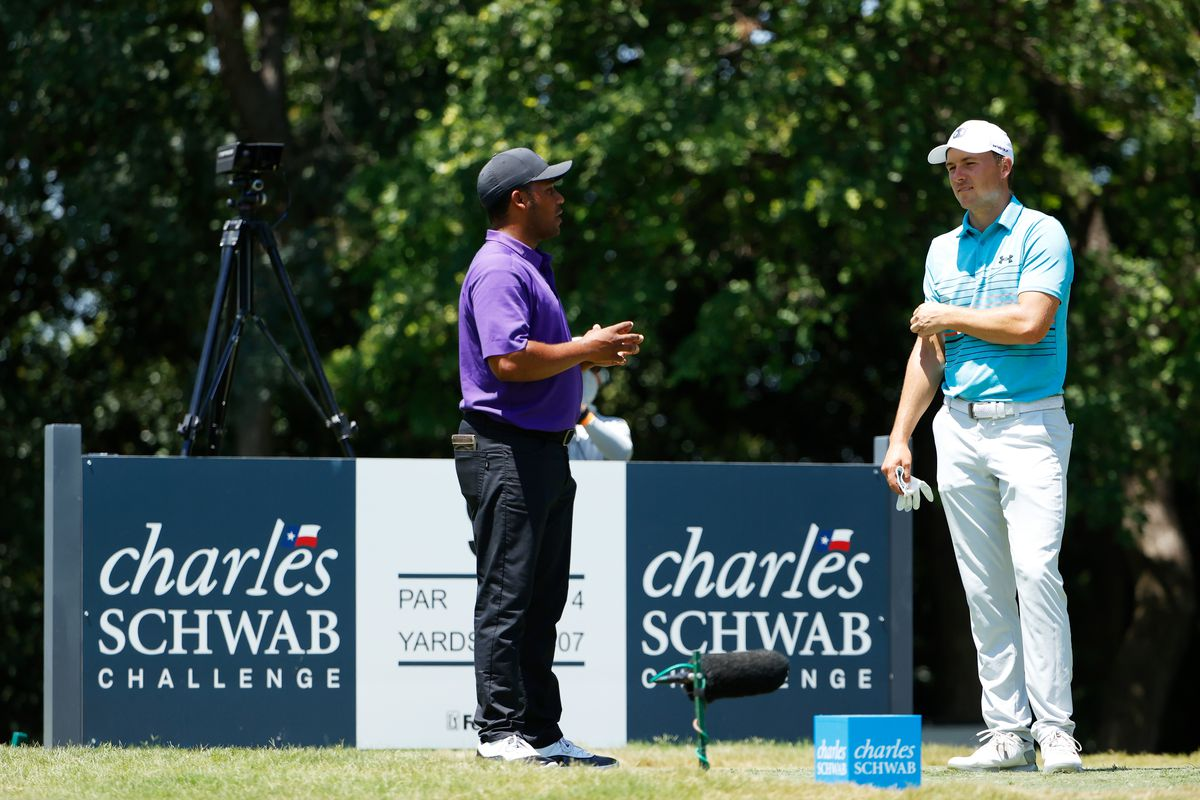 Harold Varner III of the United States and Jordan Spieth of the United States talk on the ninth tee during the third round of the Charles Schwab Challenge on June 13, 2020 at Colonial Country Club in Fort Worth, Texas.
