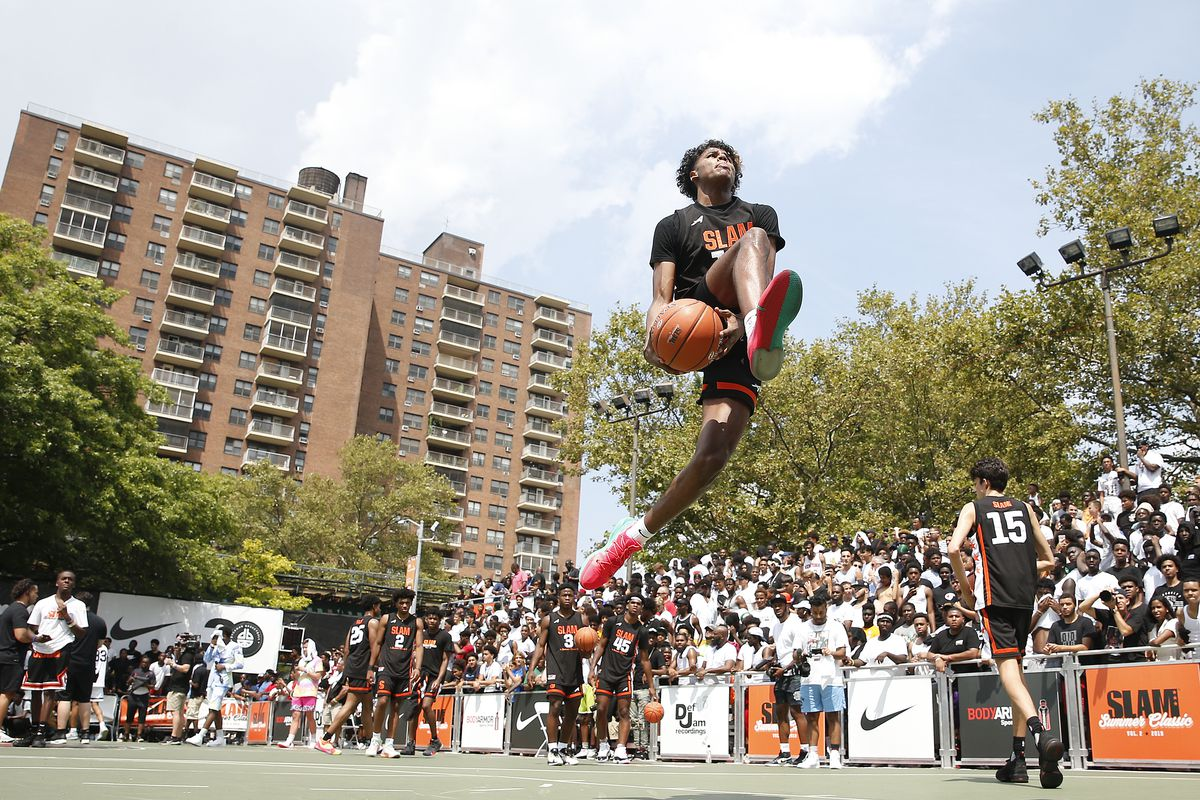 Jalen Green of Team Zion dunks prior to the game against Team Jimma during the SLAM Summer Classic 2019 at Dyckman Park on August 18, 2019 in New York City.