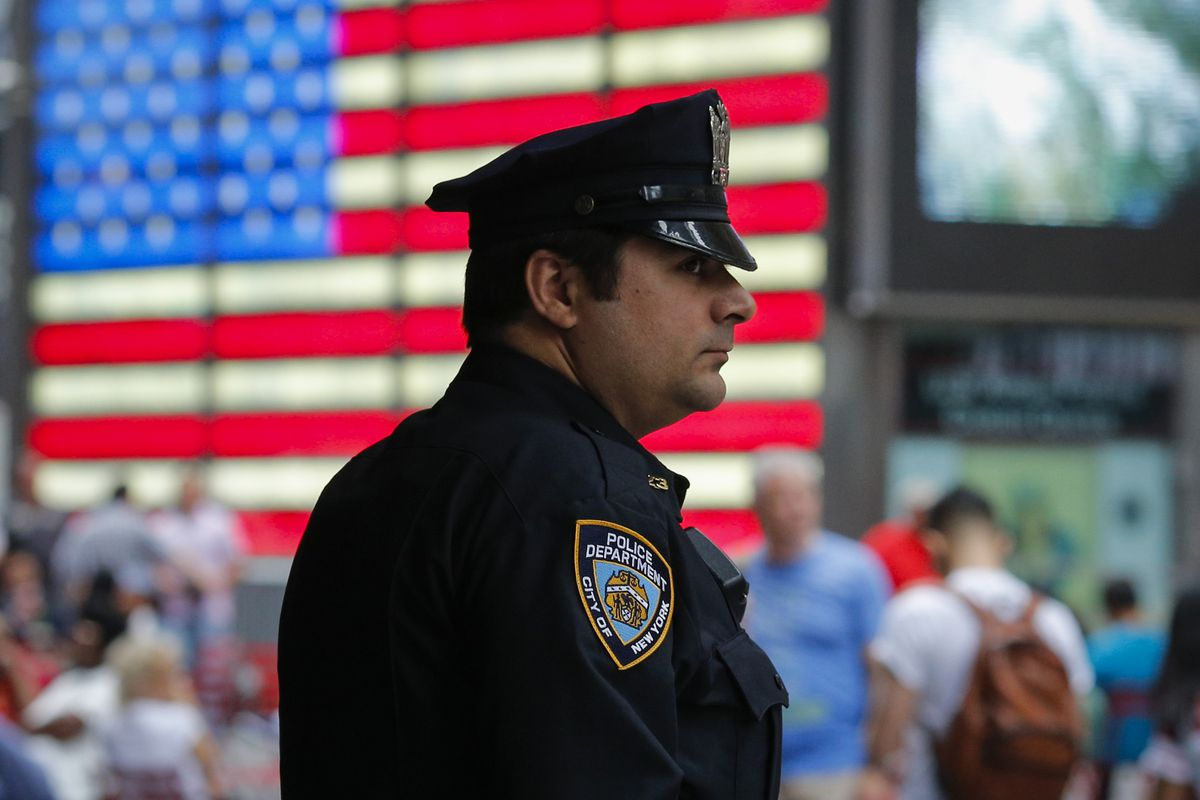 A New York City police officer in Time Square.