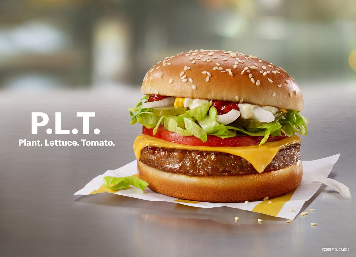 The P.L.T., made exclusively by McDonald's with Beyond Meat, is in the midst of a 12-week test run in restaurants in Canada.