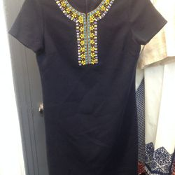 Embroidered shift dress, $150
