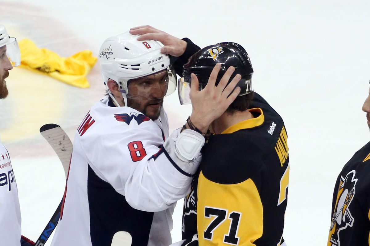 Alex Ovechkin congratulates Evgeni Malkin after Caps are eliminated by Penguins in game six.