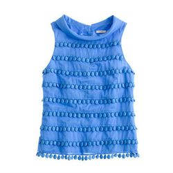 "<b>J.Crew</b> Pom-Pom shell, <a href=""http://www.jcrew.com/womens_category/shirtsandtops/sleeveless/PRDOVR~83881/83881.jsp"">$128</a>"