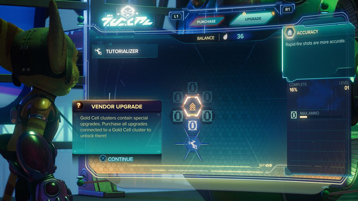 Weapon upgrade tutorial in Ratchet & Clank: Rift Apart