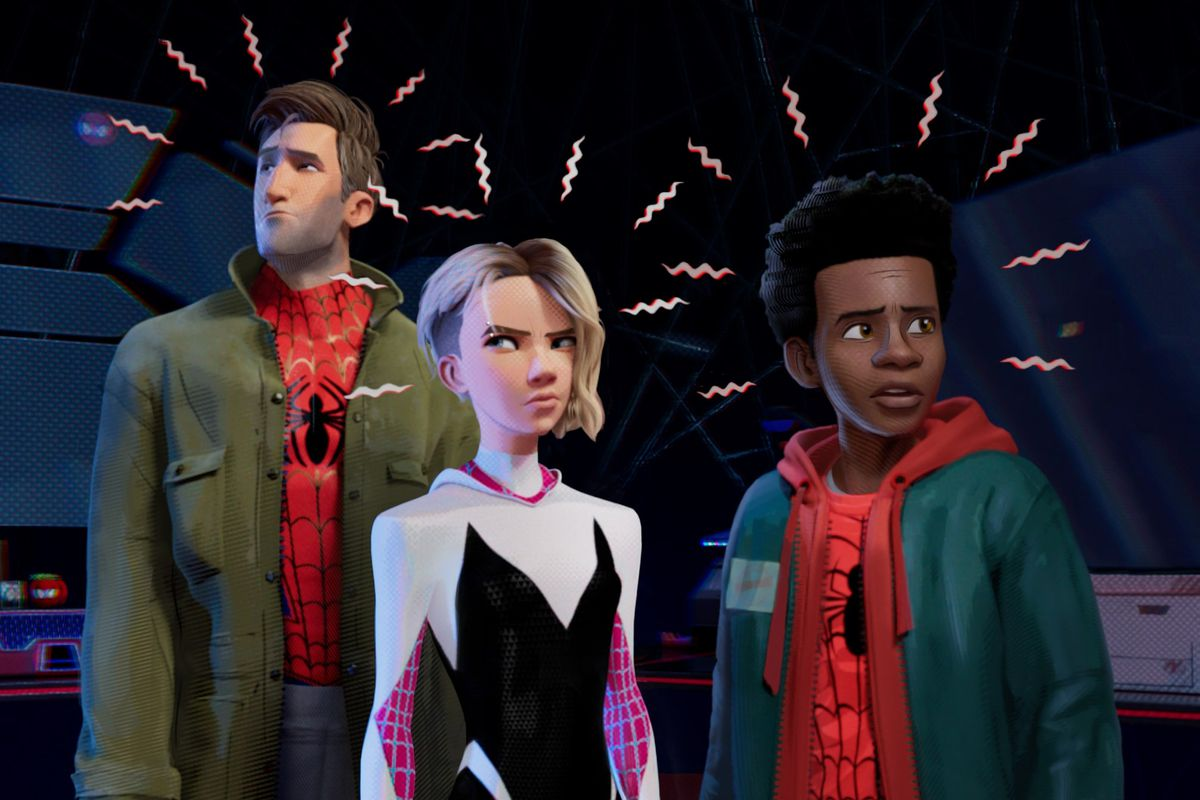 peter parker, gwen stacy, and miles morales in spider-man into the spider-verse