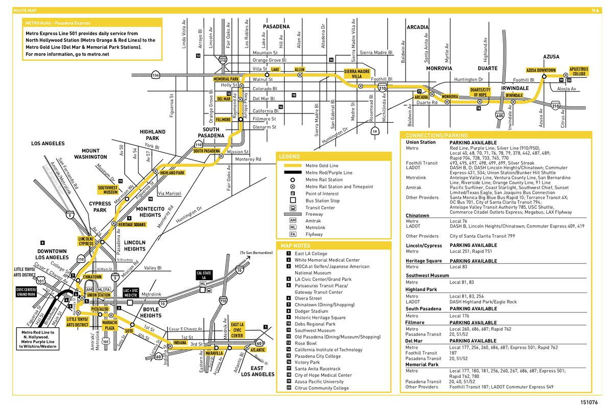 A map detailing a yellow line, with white dots representing stations