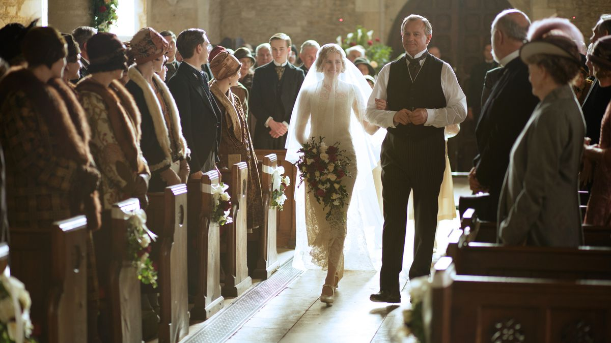Laura Carmichael as Lady Edith Crawley and Hugh Bonneville as Robert Crawley, Earl of Grantham on Downton Abbey.