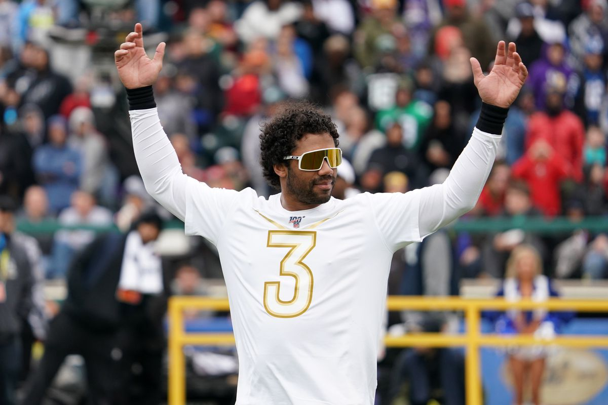Seattle Seahawks quarterback Russell Wilson celebrates during the Pro Bowl Skills Showdown at ESPN Wide World of Sports.