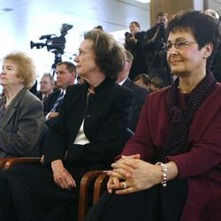 Sister Frances Monson, left, Sister Kathleen Eyring and Sister Harriet Uchtdorf listen as it is announced that President Thomas S. Monson was named as the 16th president of The Church of Jesus Christ of Latter-day Saints in Feburary 2008. President Henry B. Eyring and President Dieter F. Uchtdorf were named as first and second counselors, respectively, in the First Presidency.