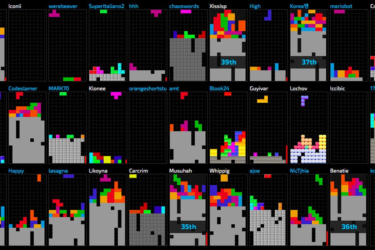 A screenshot of around 40 Tetris boards from Jstris