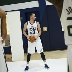 Utah Jazz forward Gordon Hayward poses for a photographer during Media Day at Zions Bank Basketball Center in Salt Lake City on Monday, Sept. 26, 2016.