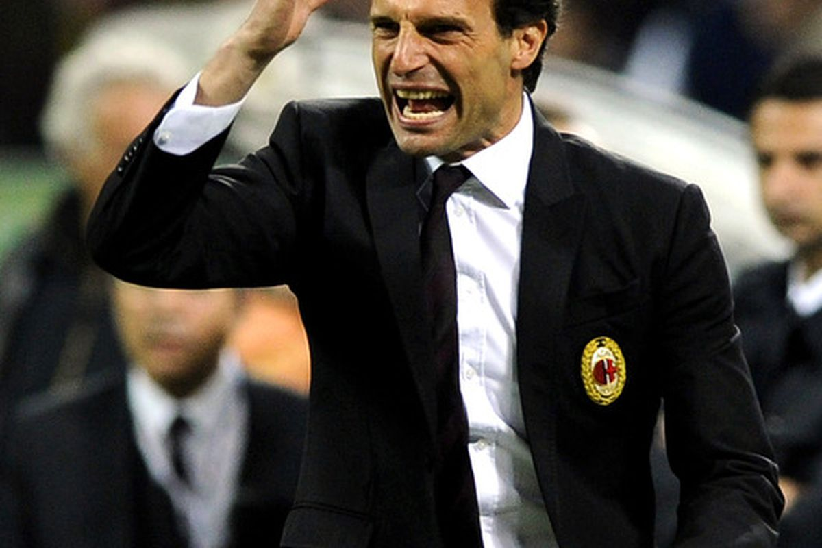 MILAN, ITALY - MAY 02:  AC Milan head coach Massimiliano Allegri reacts during the Serie A match between AC Milan and Atalanta BC at Stadio Giuseppe Meazza on May 2, 2012 in Milan, Italy.  (Photo by Claudio Villa/Getty Images)