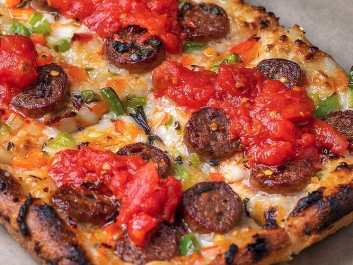 Sicilian supreme pizza at Crossroads Kitchen in West Hollywood, California