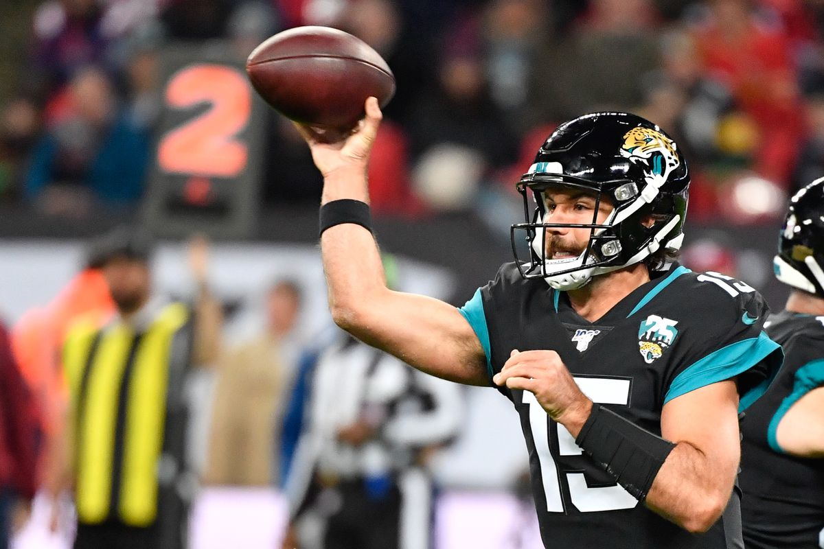 Jacksonville Jaguars quarterback Gardner Minshew throws a pass during the second half of the game between the Jacksonville Jaguars and the Houston Texans during an NFL International Series game at Wembley Stadium.