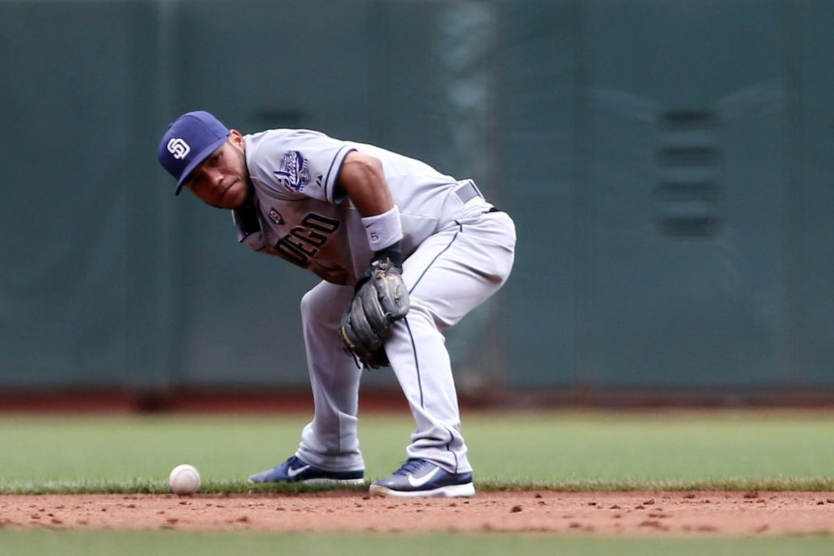 Amarista tries to channel the will of the ninja and shoot the ball to first base with his mind.