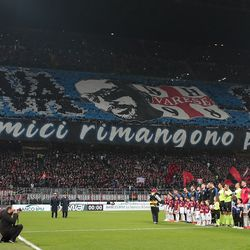 The FC Internazionale Milano fans show their support prior to the Serie A match between AC Milan and FC Internazionale at Stadio Giuseppe Meazza on March 17, 2019 in Milan, Italy.