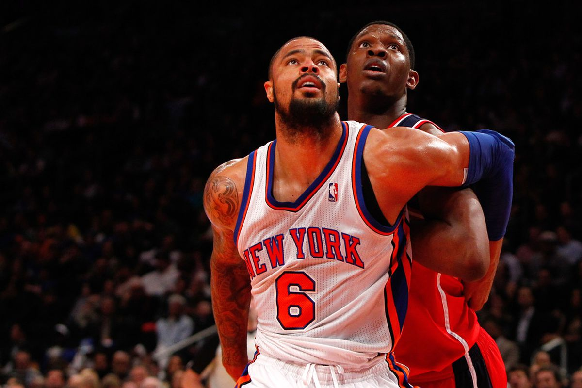Apr. 13, 2012; New York, NY, USA; New York Knicks center Tyson Chandler (6) and Washington Wizards small forward Chris Singleton (31) wait for the rebound during the first half at Madison Square Garden. Mandatory Credit: Debby Wong-US PRESSWIRE