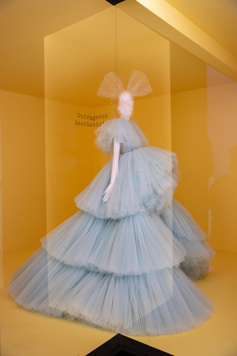An enormous tiered tulle dress in light blue.