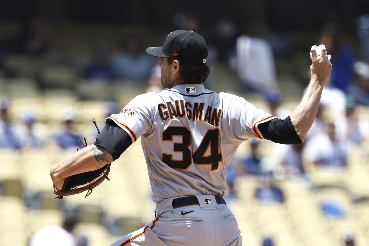 Kevin Gausman of the San Francisco Giants pitches against the Los Angeles Dodgers during the first inning at Dodger Stadium on May 30, 2021 in Los Angeles, California.