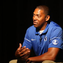 Jernaro Gilford, cornerbacks coach, answers interview questions during BYU Football Media Day at BYU Broadcasting in Provo on Friday, June 23, 2017.