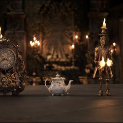 """The mantel clock Cogsworth, the teapot Mrs. Potts, Lumiere the candelabra and the feather duster Plumette live in an enchanted castle in Disney's """"Beauty and the Beast."""""""